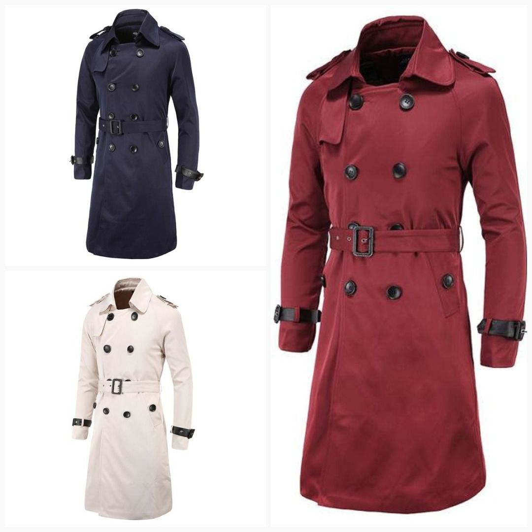 e685069a1 Men Trench Coat Classic Double Breasted Trench Coat Masculino Male ...