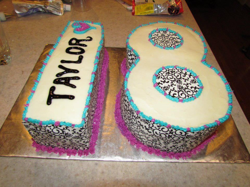 18th teen birthday cake in black and white with colorful accents