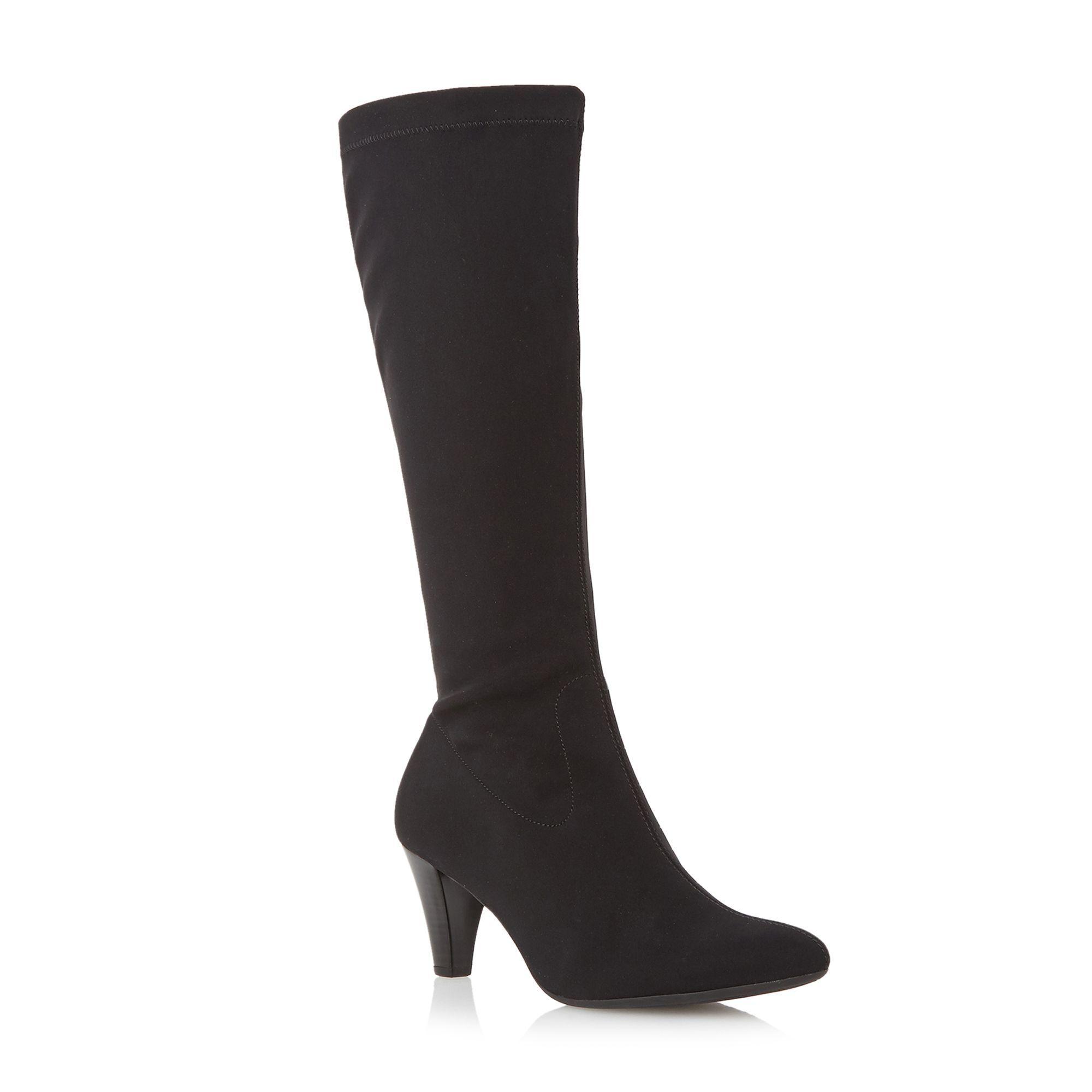 Gabor Koola stretch knee high heeled boots, Black