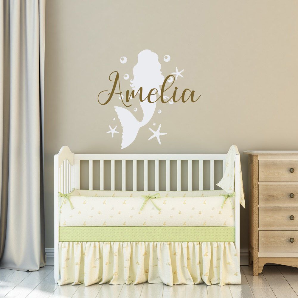 Little Mermaid Wall Decal Personalized Girls Name  Mermaid Girl Nursery Wall  Art Decor  Personalized Mermaid Decal Girls Bedroom Wall Decor By ...