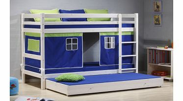 Thuka Minnie Solid Pine White Bunk Bed With Blue Tent And Trundle Guest