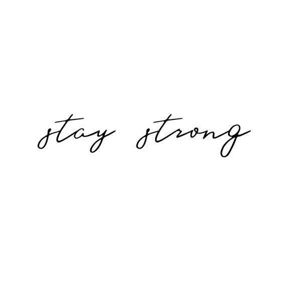 Stay Strong (Set of 2) – Temporary Tattoo / Quote Temporary Tattoo / Script Tattoo / Text Temporary Tattoo / Typography Temporary Tattoo