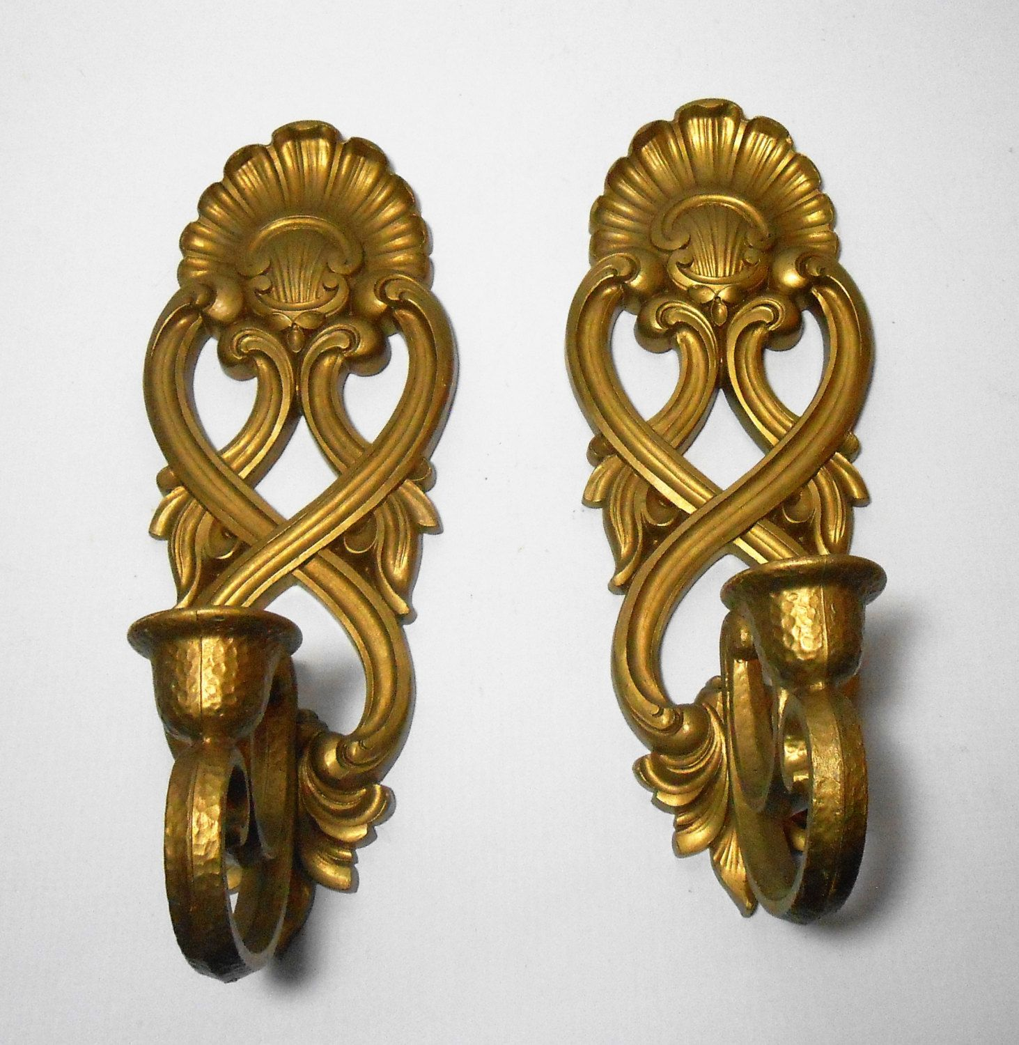 Vintage Candle Holders, Sconces, Gold, Ornate, Wall Sconce ... on Decorative Wall Sconces Candle Holders Chrome id=94775