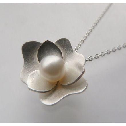 Sterling Silver Flower Necklace - Silver and Pearl Pendant - Gardenia  Pendant 0b9084e42ad5