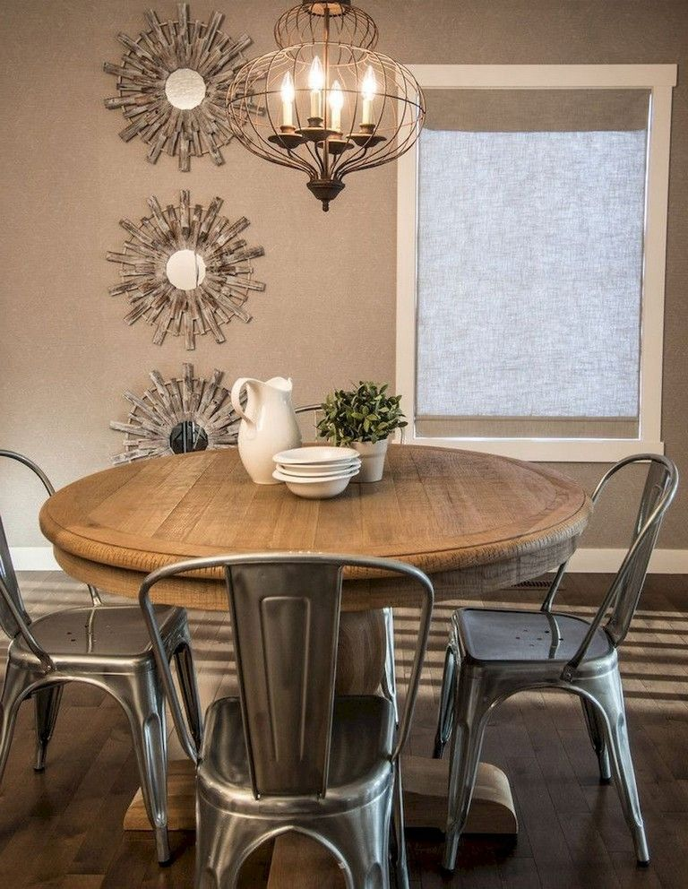 65 Exciting Farmhouse Dining Room Decor Ideas Rustic Round Dining Table Round Dining Room Rustic Kitchen Tables