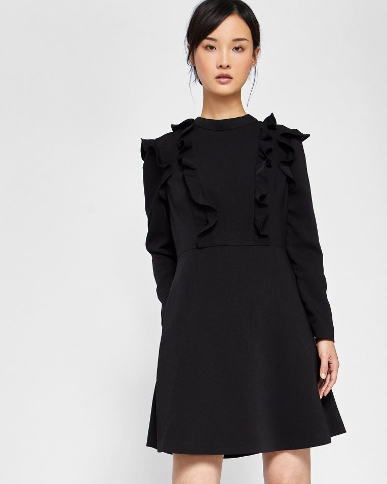 0f74d4422 Long sleeve frill tunic dress - Black