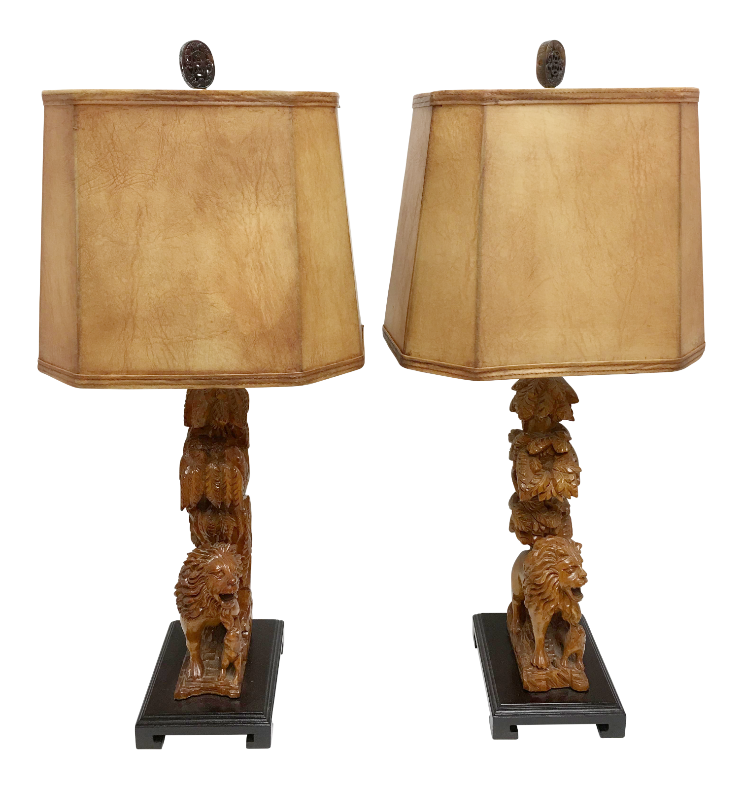 Carved Wood Lion Table Lamps A Pair Wood Carving Table Lamp Wood
