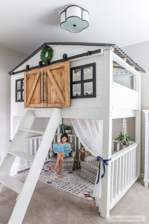 Sliding Barn Door Loft Bed #kidbedrooms How to build a DIY sliding barn door lof... -  Sliding Barn Door Loft Bed #kidbedrooms How to build a DIY sliding barn door loft bed – full tuto - #barn #Bed #besthomedecorideas #build #DIY #diybathroom #diyhomeaccents #diyhomeplants #diykitchenideas #diylivingroomideas #door #kidbedrooms #lof #Loft #sliding