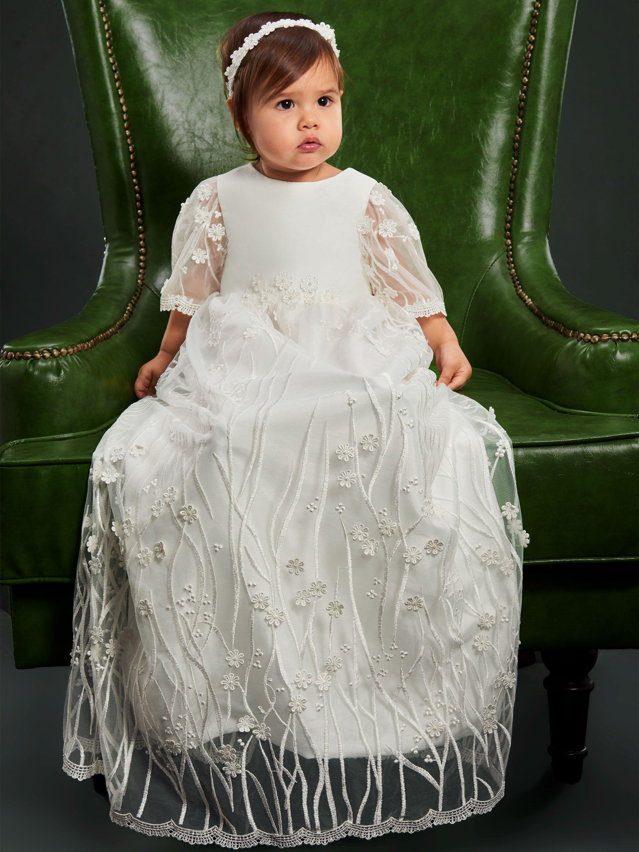 835291988519  70.99 Dresswe.com SUPPLIES Scoop Neck Half Sleeves Lace Christening ...