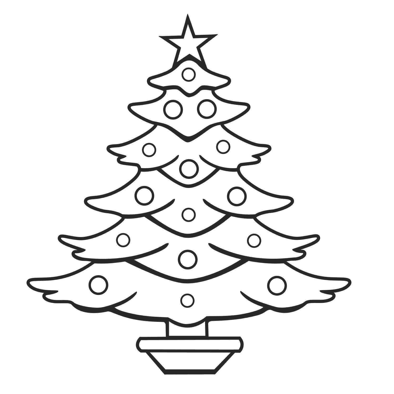 Unique Christmas Tree Star Clipart Black And White