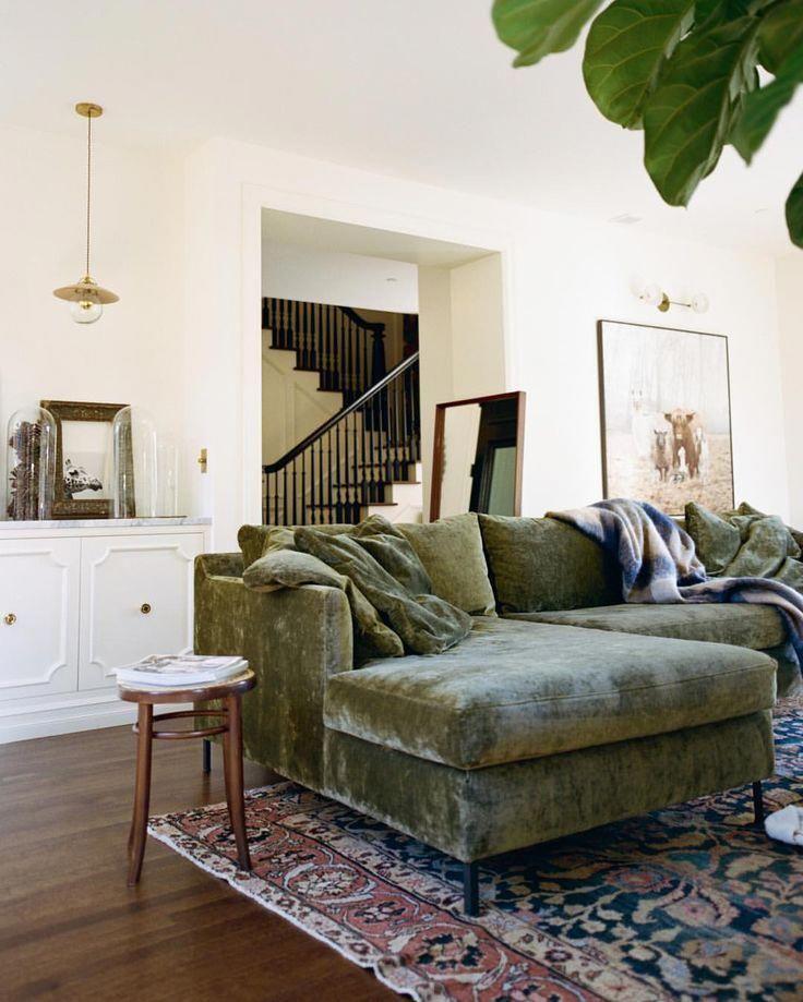 living room  mid century modern  green velvet sofa