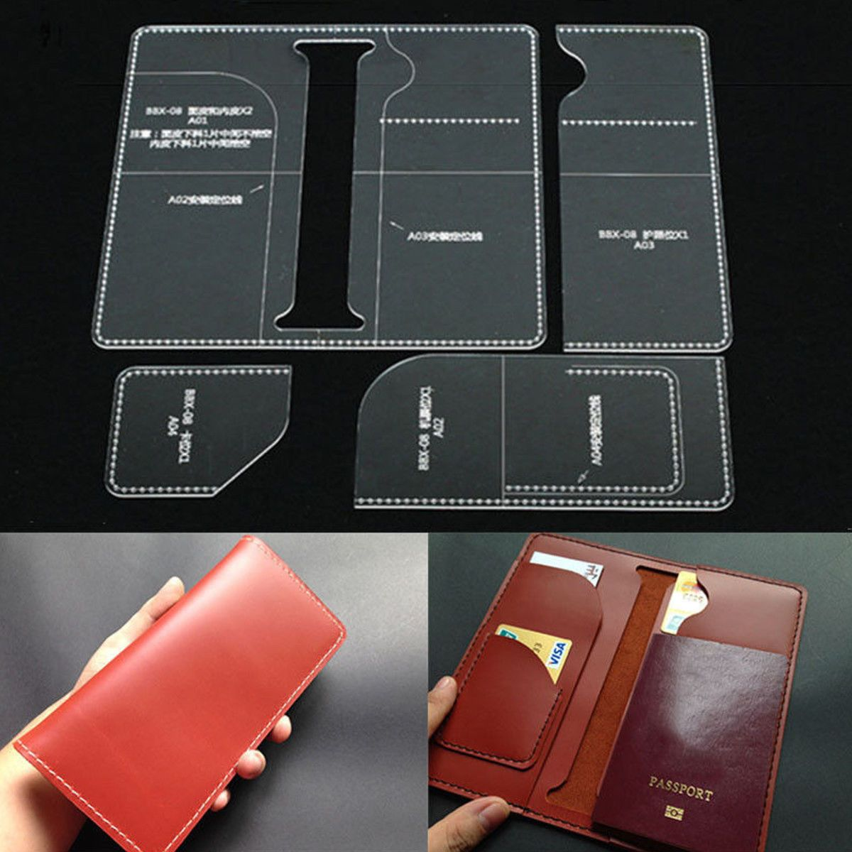 Leather Craft Clear Acrylic long wallet mould Pattern Stencil Template tool set