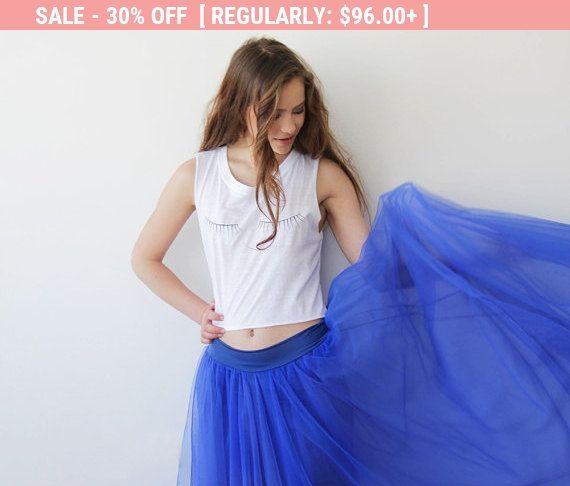 Tulle blue maxi skirt Maxi tulle bridesmaids skirt by BLUSHFASHION-$67.20-Blue/Navy Blue