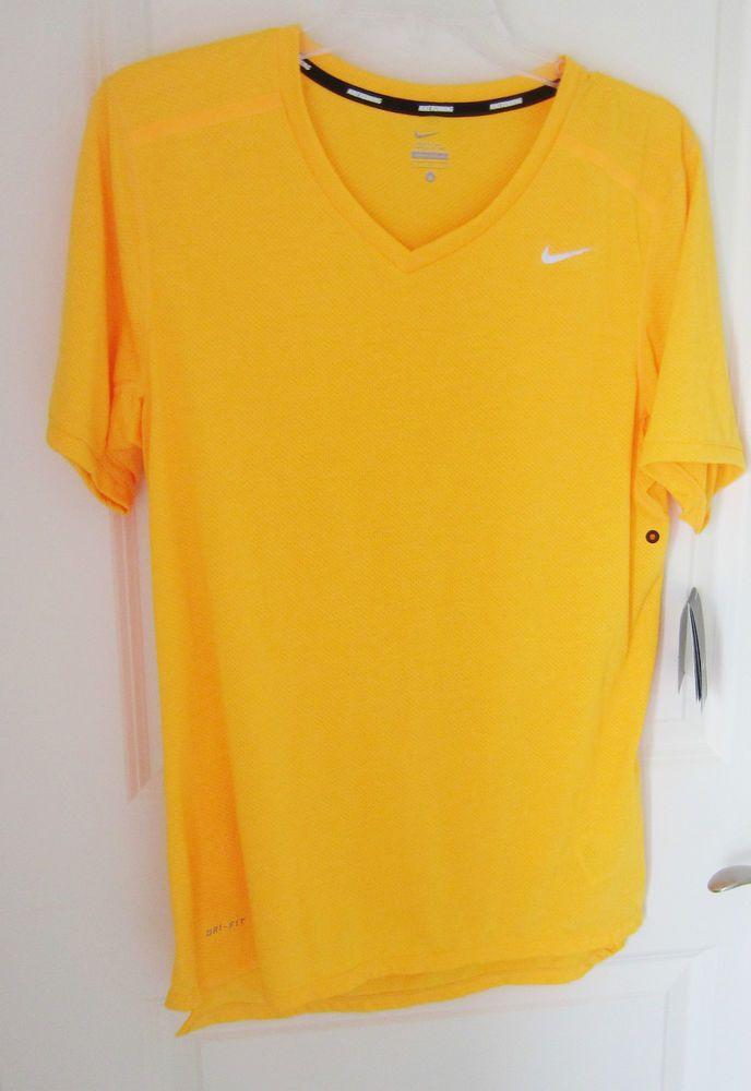 6412e642 NWT Nike Men's Running Tailwind V-Neck T-Shirt Size S Dri-Fit Yellow  451266-845 #Nike #ShirtsTops #tailwind
