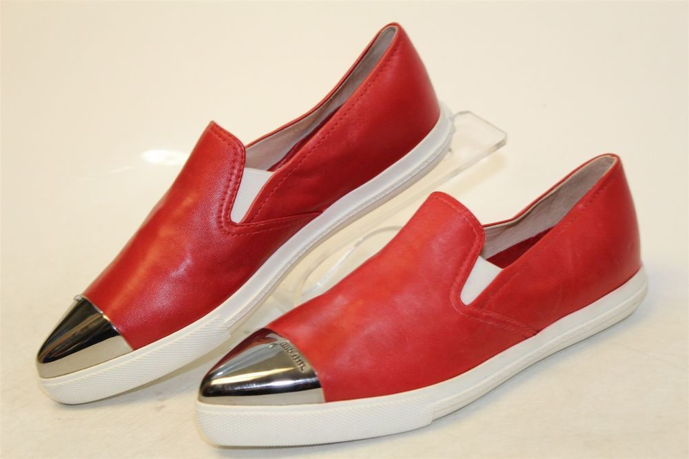56a3d2aa2f Miu Miu MISMATCH Womens L 39.5   R 37 NEW Red Leather Slip On Sneakers  Shoes jy  fashion  clothing  shoes  accessories  womensshoes  flats (ebay  link)
