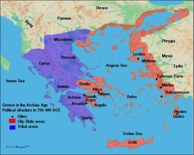 The Aegean Sea lies between the coast of Greece and Asia Minor
