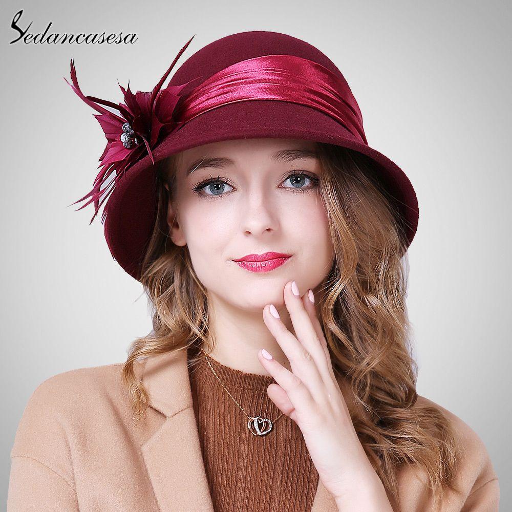 51e8fd09d8a Autumn Winter Female Cloche hat Handmade Feather European Wool Felt Fedora  Hats for England Bucket hat Who like it    shop  beauty  Woman s fashion ...