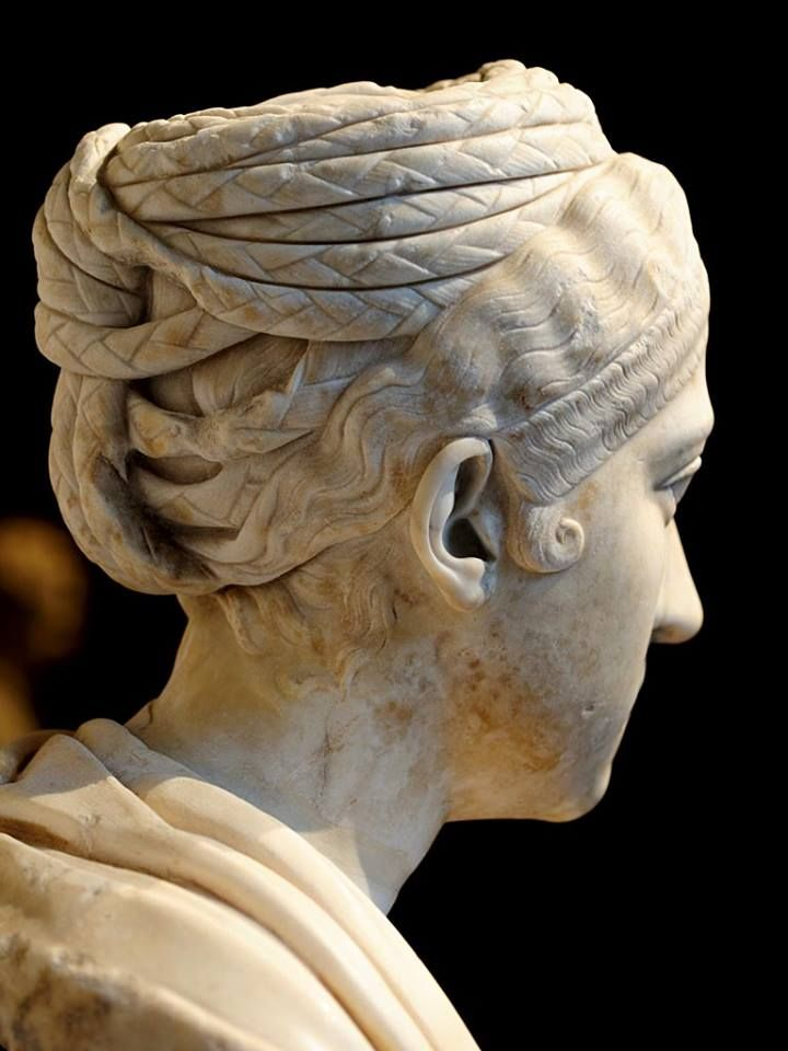 Bust of Empress Sabina, sideview Roman sculpture, Roman