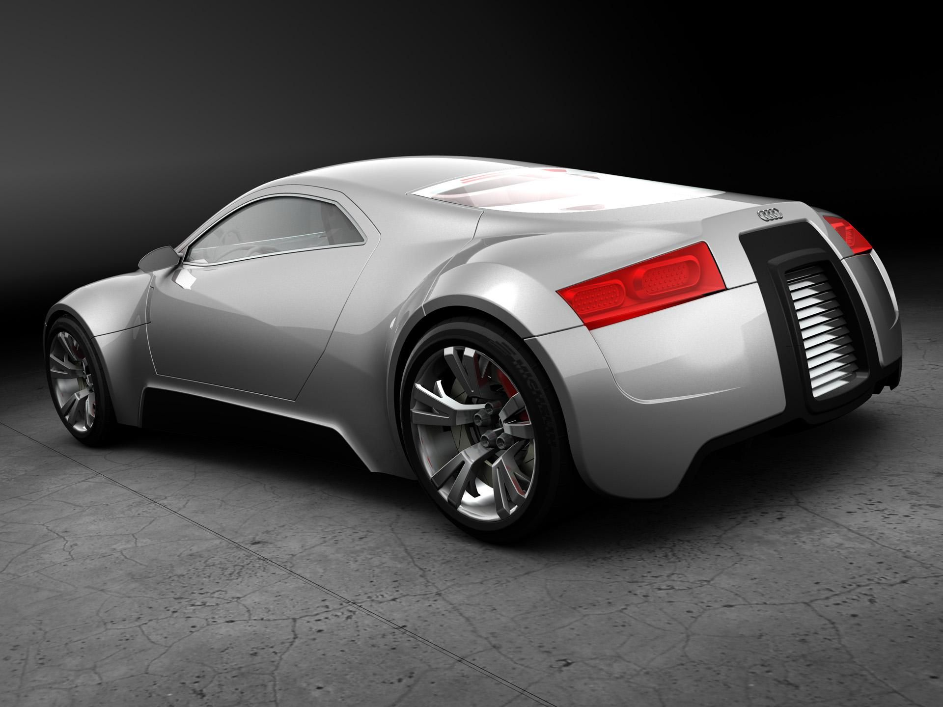 3d car  3d audi sport silver car Wallpaper  Free Desktop