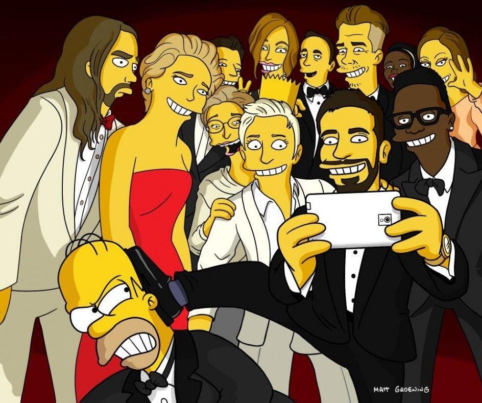 El 'selfie' planetario de los Oscar, hecho Simpsons | 20minutos.es