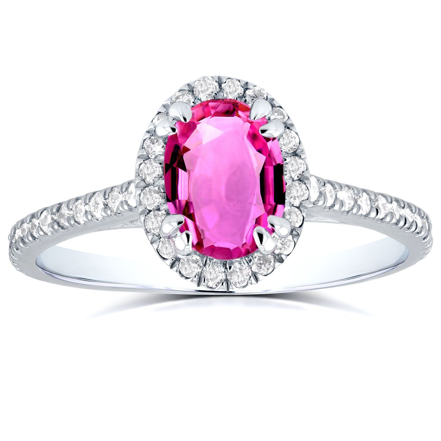 Annello by Kobelli 14k White Gold Oval Pink Sapphire and 1/3ct TDW ...
