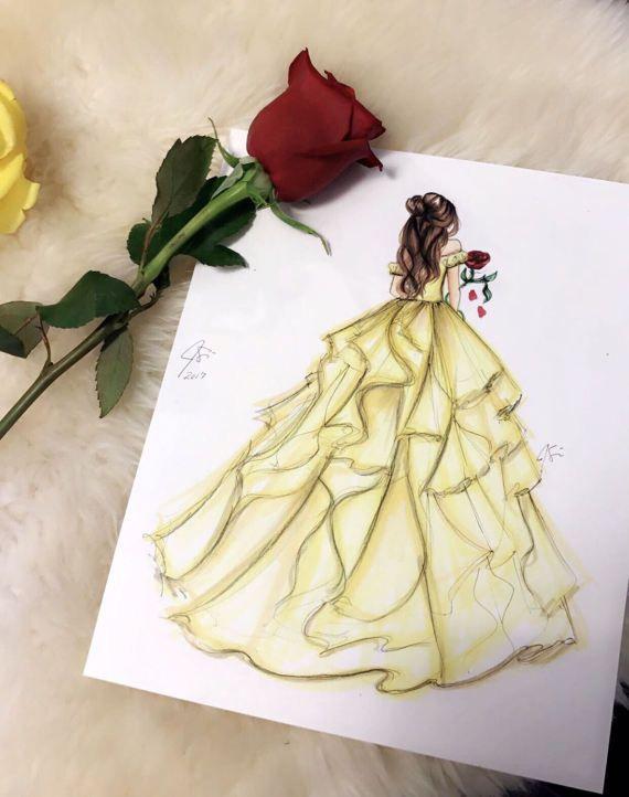 Photo of Princess and the Rose Fashion Illustration Print Fashion | Etsy