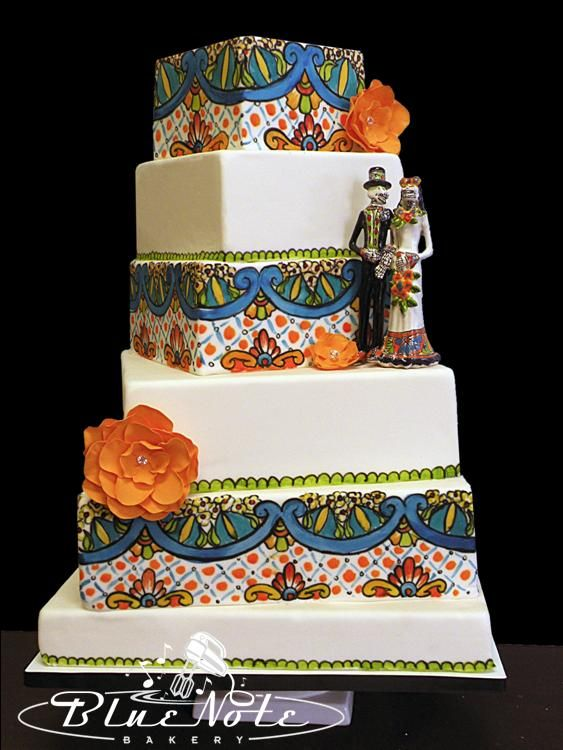 Dia De Los Muertos wedding cake #talavera #weddingcake ...