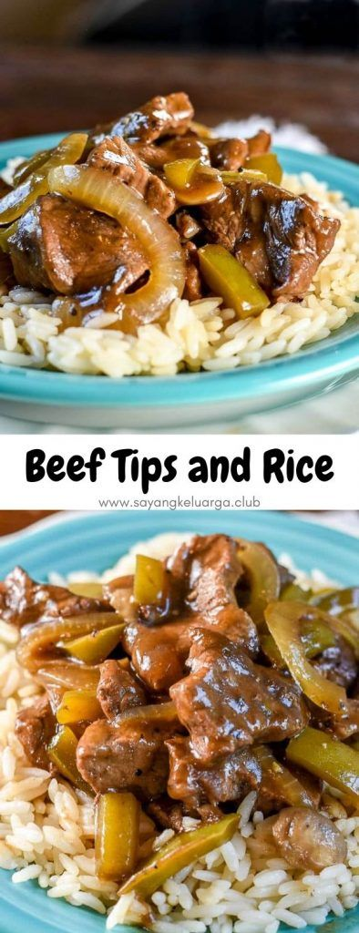 Beef Tips and Rice, with sauteed onions and peppers covered in a savory gravy, made #beefandrice