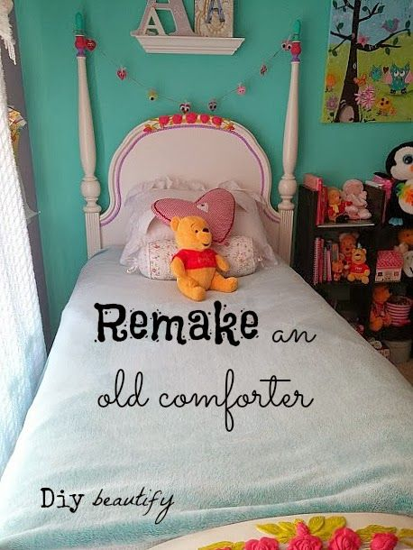 An Old Comforter Gets A New Life Comforters Diy Furniture Projects Old Bed Sheets