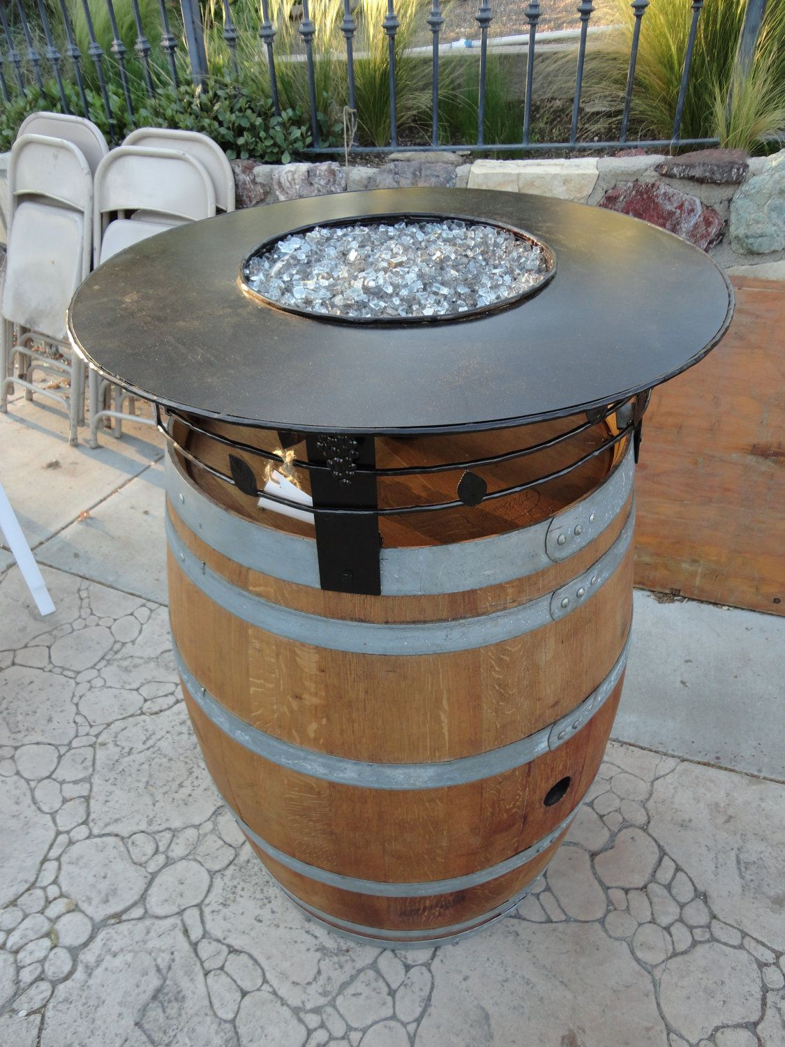 Wine Barrel Fire Pit Table Part - 31: Here Is A Wine Barrel Fire Pit Designed And Built By Leasure Concepts. The  Top