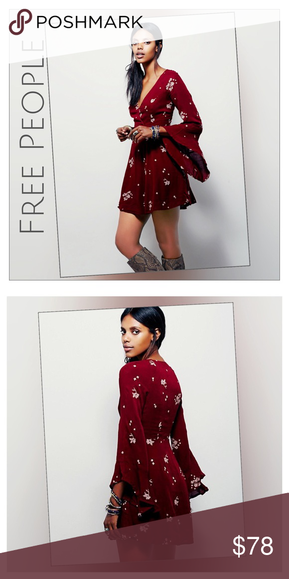 a5fdea810fc ✨Free People Jasmine Dress✨ ✨Free People Embroidered Jasmine Dress In  Marsala Combo✨Contrasting Embroidered Floral Print✨Fit And Flare V-Neck  Style ...