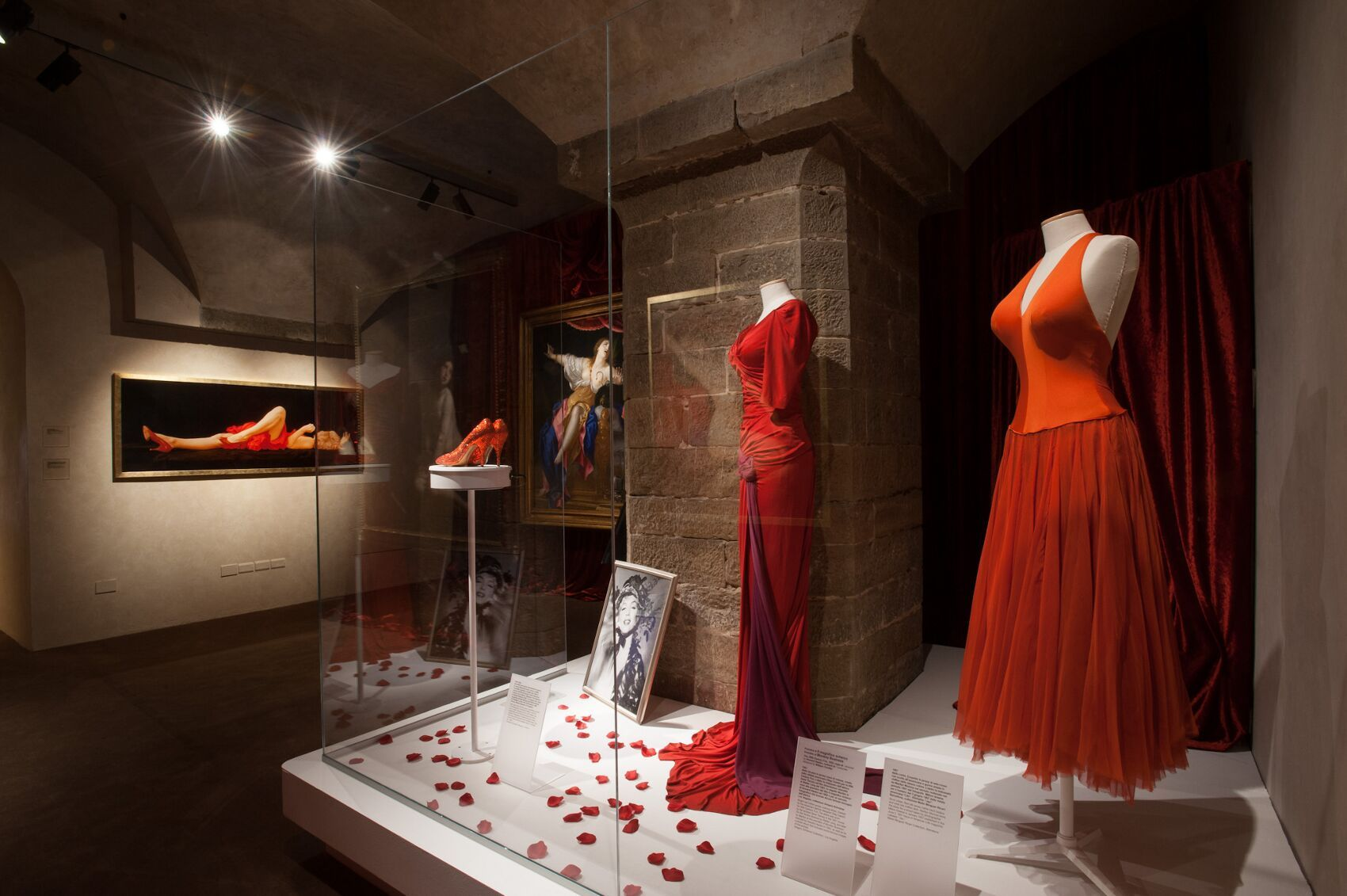 ... her red and purple velvet evening gown that she wore to the premier of