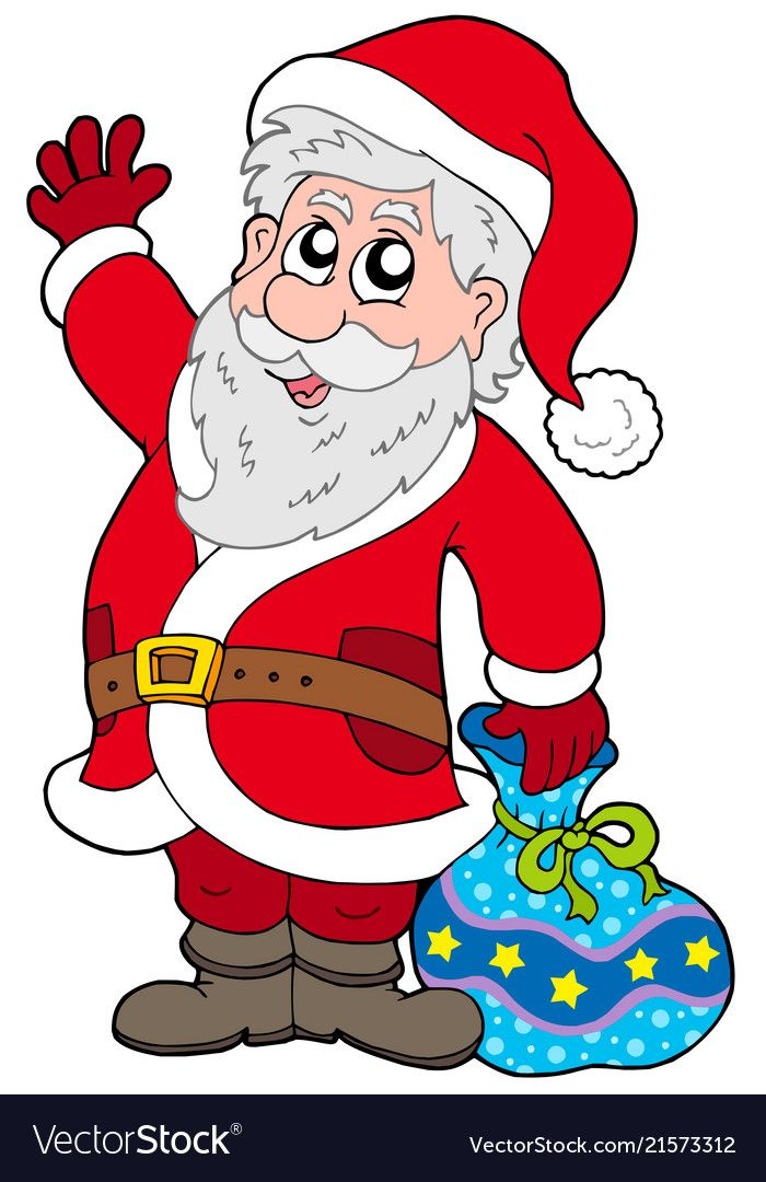 Cute Santa Claus With Gifts Royalty Free Vector Image Santa Claus Images Gift Vector Cartoon