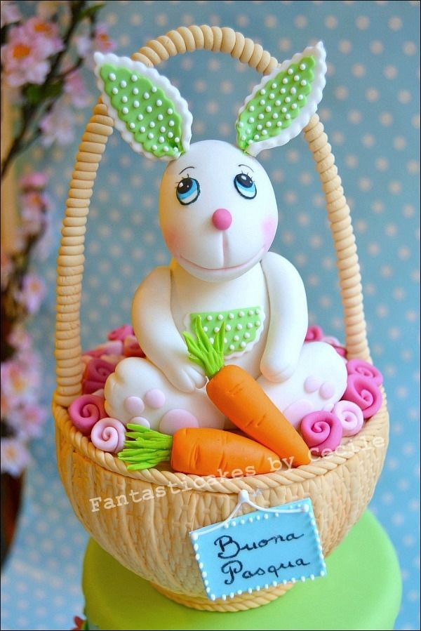 Easter Bunny in a Basket Cake - Cake tutorial made for the italian ...