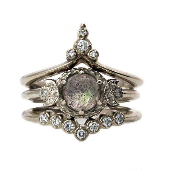 White Moon Temple Engagement Ring Set – Rose Cut Labradorite with White Diamond Stacking Wedding Bands