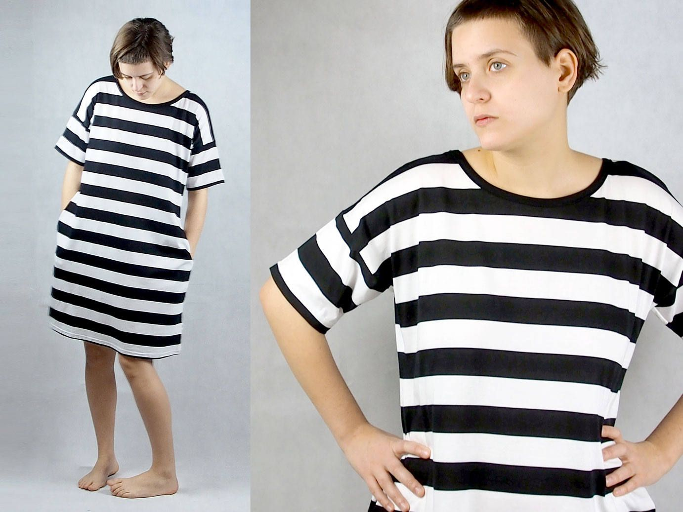 Black t shirt dress etsy - Tricot Dress With Pockets And Stripes Black And White Women S Clothing T Shirt Dress Cotton By Themotekshop On Etsy