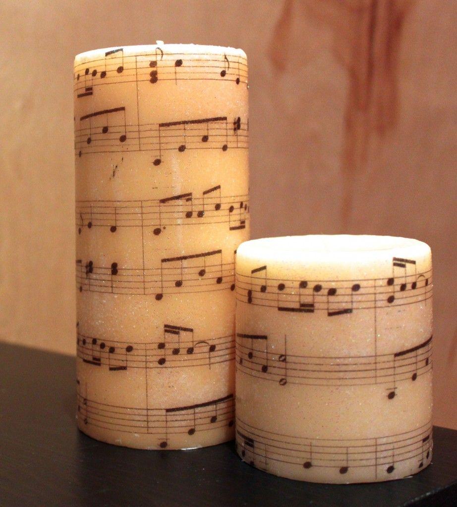 Copy That Pb Music Pillar Candle The Crazy Craft Lady Music Crafts Music Candle Sheet Music Crafts