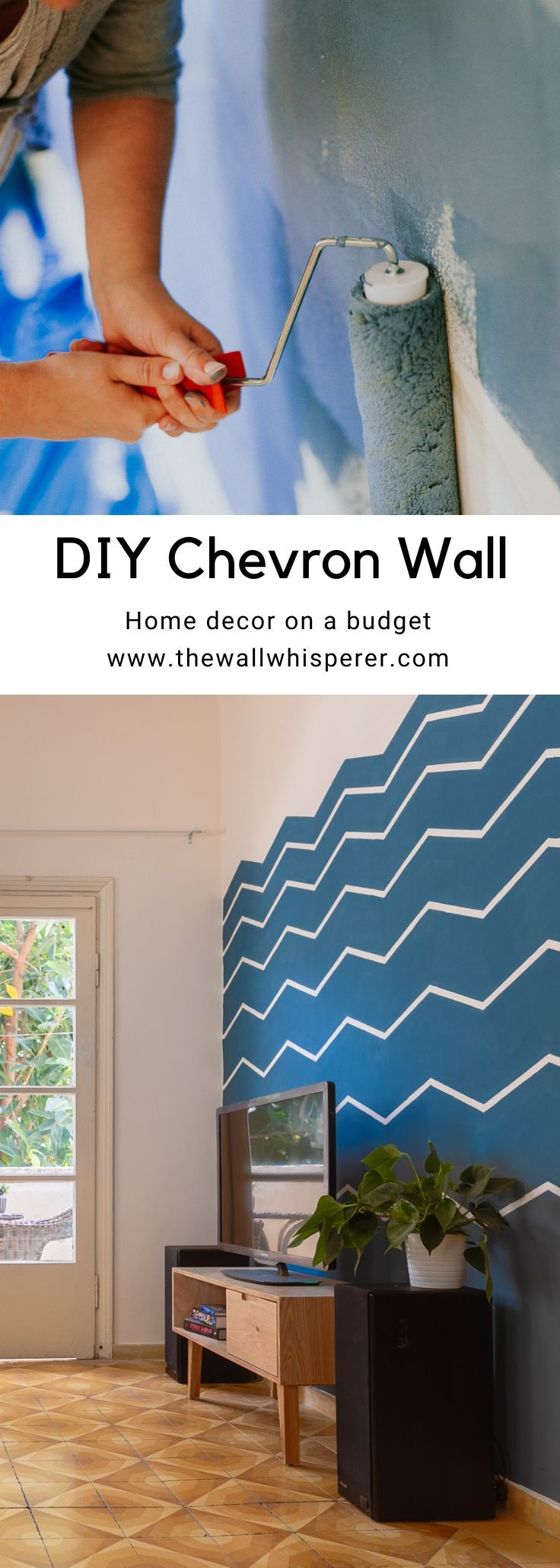 Super clear tutorial. How to make an accent wall in your living room. Easy Chevron pattern to make a zig-zag wall. Blue accent TV wall.  #diyhomedecor #diyhomestyling #pantone2020 #accentwall #homeprojects