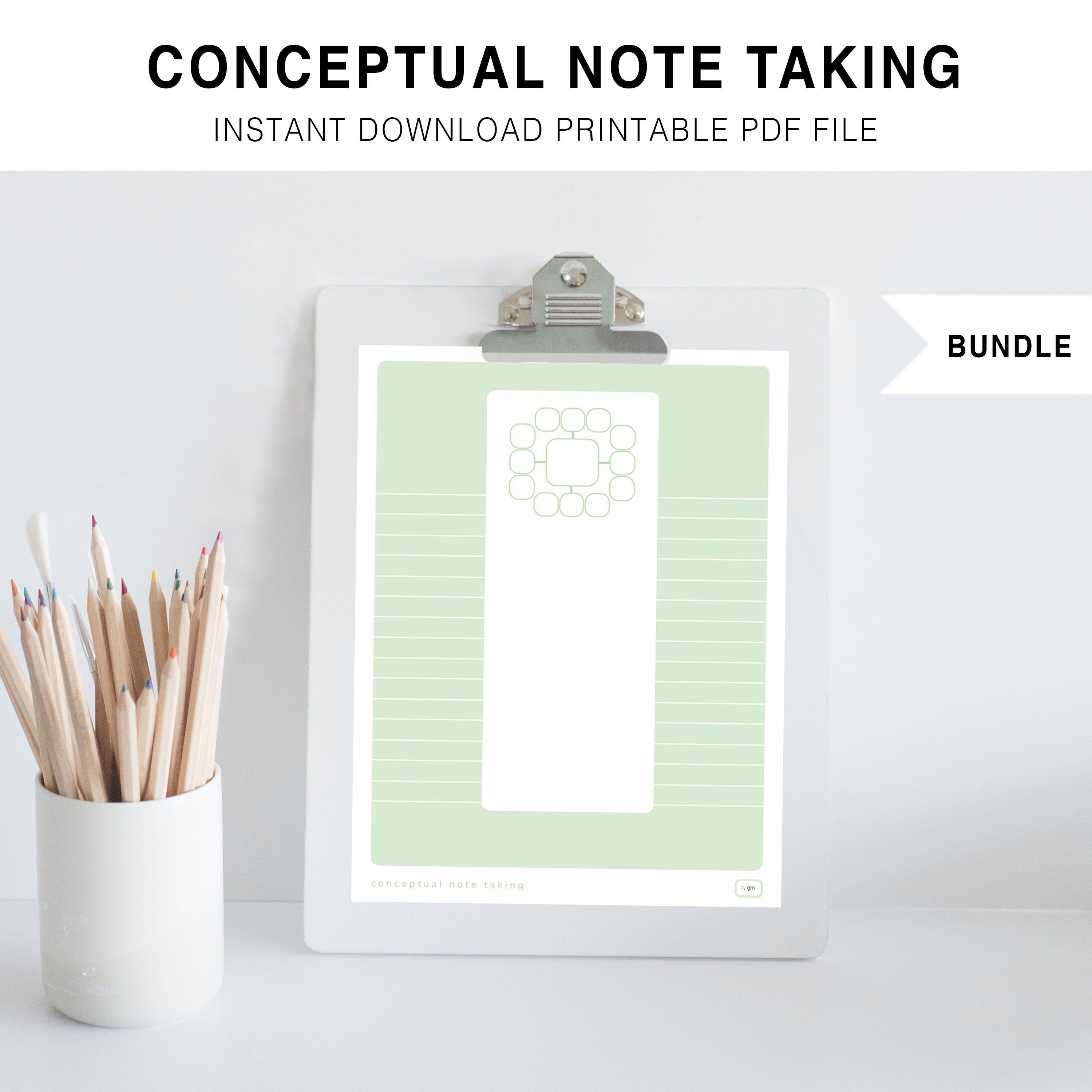 Conceptual Note Taking Bundle Printable Instant