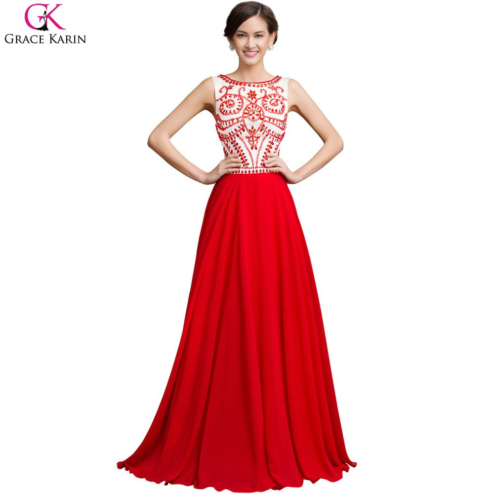 Robe De Soiree Long Red Evening Dress Beaded Sleeveless | Robes de ...