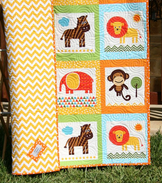 Baby Quilts Zoo Animals Gender Neutral Baby Blankets
