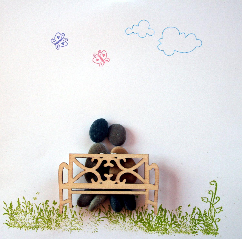 """Stein Bild  """"Im Garten"""" Kiesel Art Pebble Art Geschenk Ruhestand Geburtstag Hochzeit Verlobung - Personalisierbar von StoneArt2015 auf Etsy"""