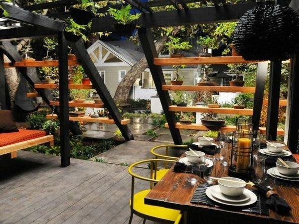Garten Ideen Pergola Im Asiatischen Stil Gelbe Akzente Bar Holz With Regard  To Garten Bar Design