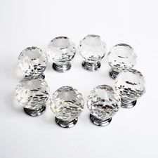 16 X Crystal Glass Door Knobs Drawer Cabinet Furniture Kitchen Handle +Screw Set