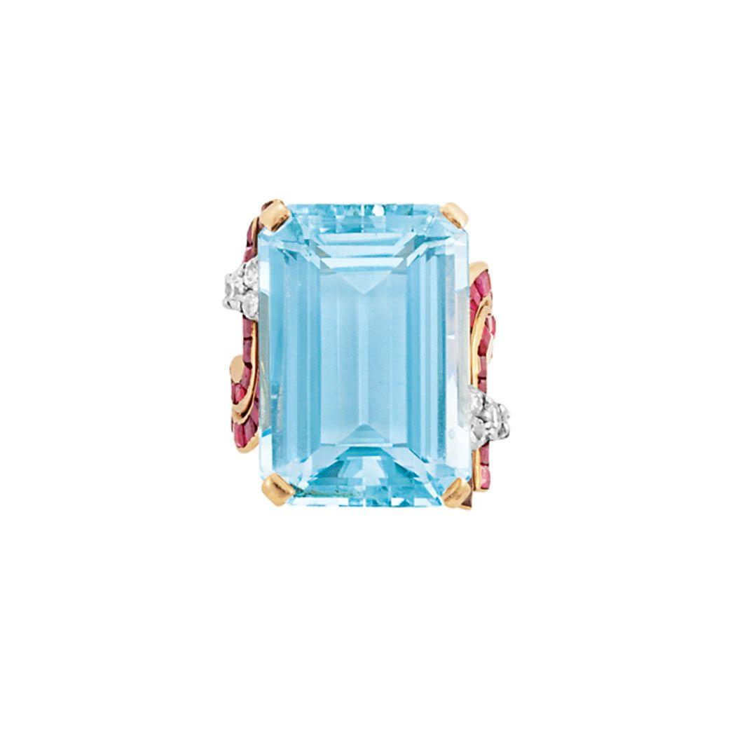 Rose gold aquamarine ruby and diamond ring love pinterest