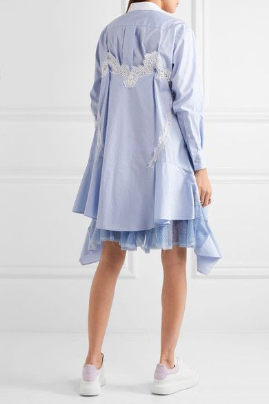 Lace-trimmed Striped Cotton-poplin Dress - Blue sacai 4hLKjBG