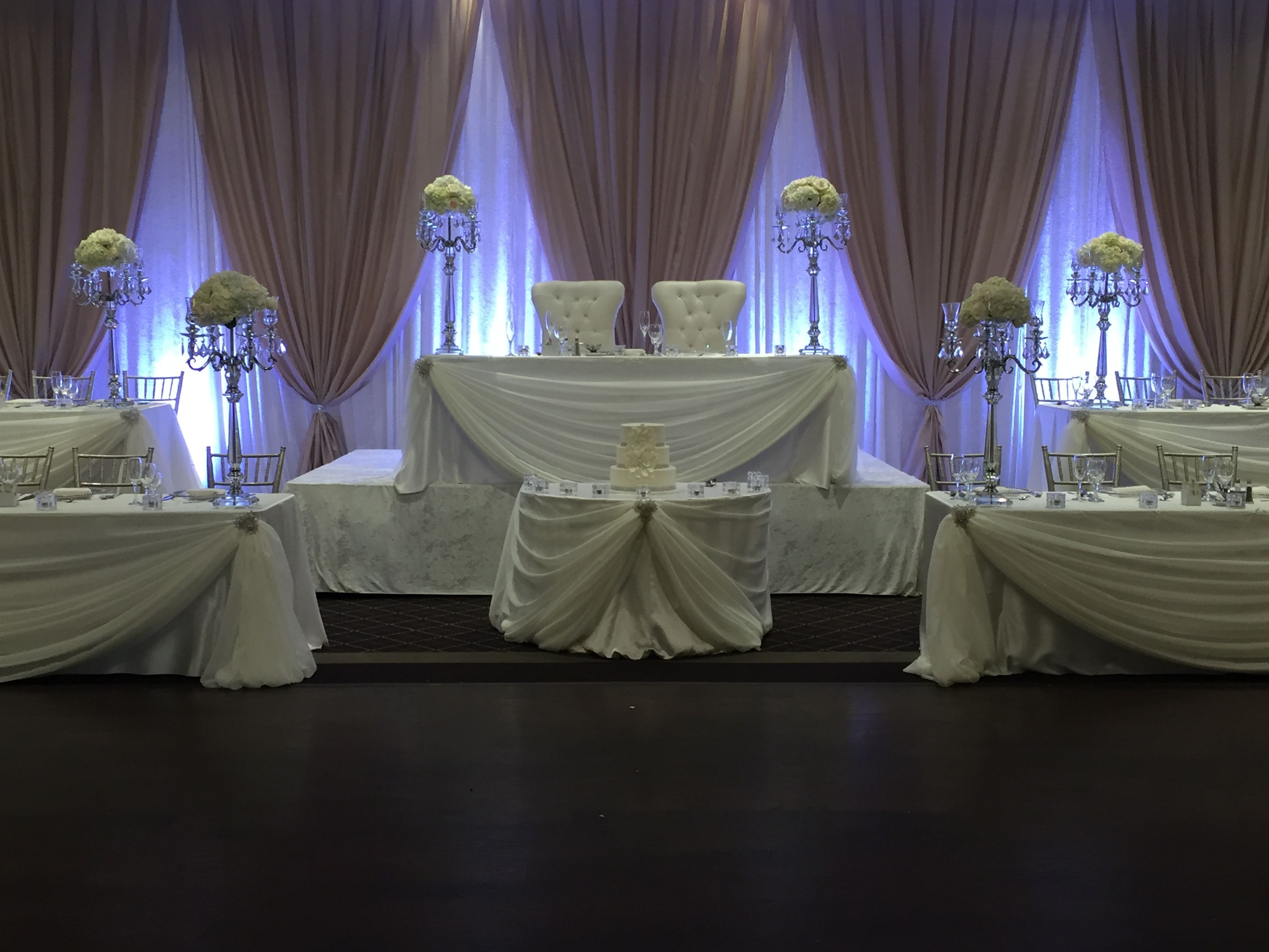 Champagne And Ivory Backdrop 5 Tier Head Table Made For Large