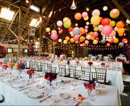 Barn Wedding With Its Own Style, Tons Of Bright Paper Globe Lanterns  Transform The Space