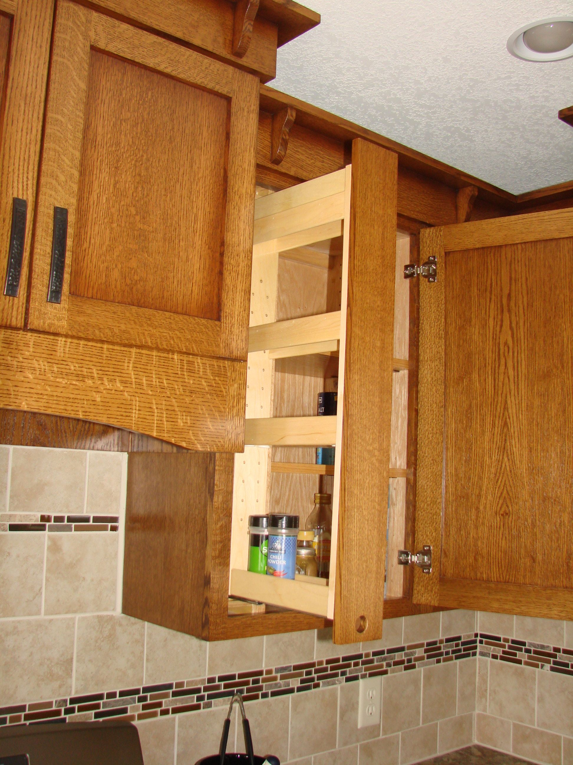 Exceptionnel Quartersawn Oak Upper Cabinet Pull Out Spice Rack