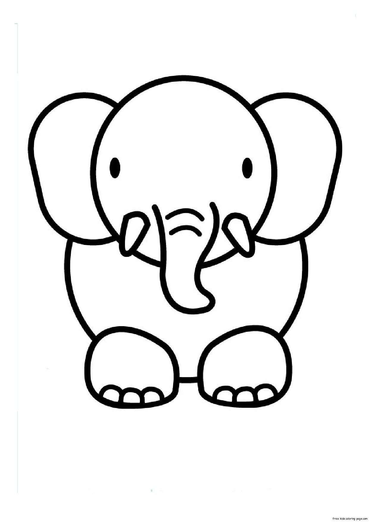 Awesome Simple Animal Coloring Pages 19 Print out animal elephant